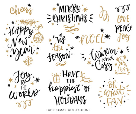 season greetings: Christmas calligraphy phrases. Hand drawn design elements. Handwritten modern lettering. Illustration