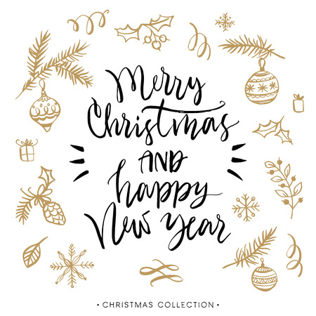 Merry Christmas and Happy New Year. Christmas greeting card with calligraphy. Handwritten modern brush lettering. Hand drawn design elements. Illustration