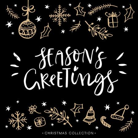 季節のご挨拶。書道とクリスマスのグリーティング カード。手描きデザイン要素です。モダンな文字を手書きします。