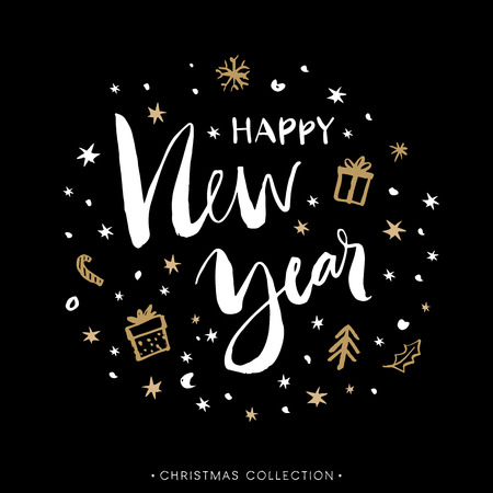 Happy New Year. Christmas greeting card with calligraphy. Hand drawn design elements. Handwritten modern brush lettering. Stock Illustratie