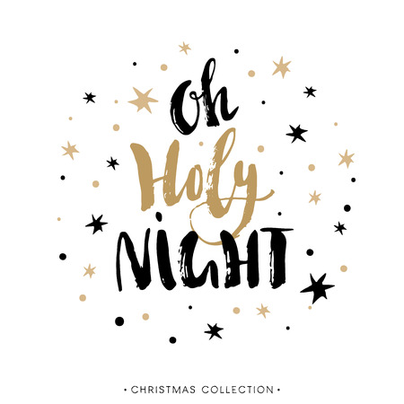 Holy Night. Christmas greeting card with calligraphy. Hand drawn design elements. Handwritten modern brush lettering. Ilustração