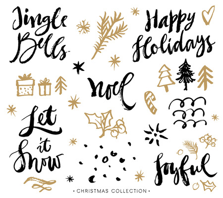 Christmas calligraphy phrases. Hand drawn design elements. Handwritten modern lettering. Vectores