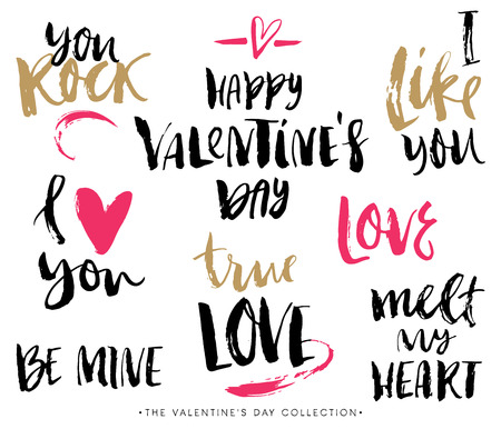 romantic love: Valentines day calligraphic phrases. Hand drawn design elements. Handwritten modern lettering.
