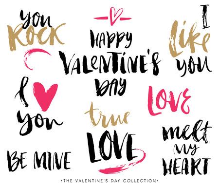love hearts: Valentines day calligraphic phrases. Hand drawn design elements. Handwritten modern lettering.