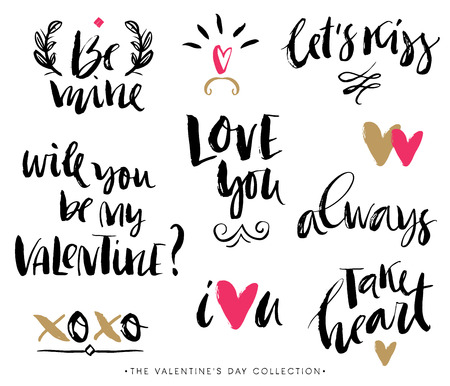 love words: Valentines day calligraphic phrases. Hand drawn design elements. Handwritten modern lettering.