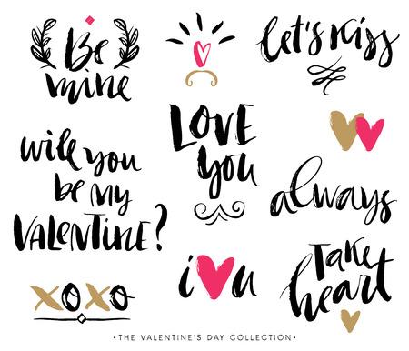 hand written: Valentines day calligraphic phrases. Hand drawn design elements. Handwritten modern lettering.