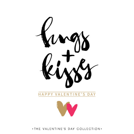 hugs: Hugs and Kisses. Valentines day greeting card with calligraphy. Hand drawn design elements. Handwritten modern brush lettering.