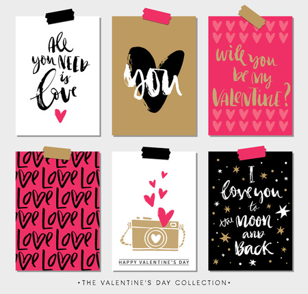 Valentines day gift tags and cards with calligraphy. Hand drawn design elements. Handwritten modern lettering.