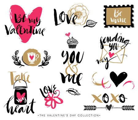 Valentines day hand drawn design elements with calligraphy. Handwritten modern lettering.