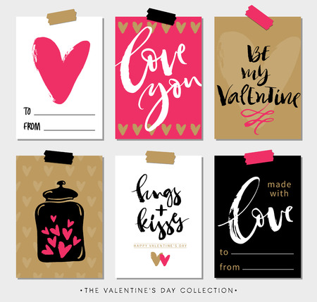 Valentines day gift tags and cards with calligraphy. Hand drawn design elements. Handwritten modern lettering. Stok Fotoğraf - 50909207