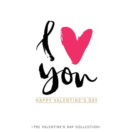 adorar: Eu te amo. Mim coração você. cartão Dia dos Namorados com caligrafia. Desenho elementos de design. moderna lettering escova de escrita à mão.
