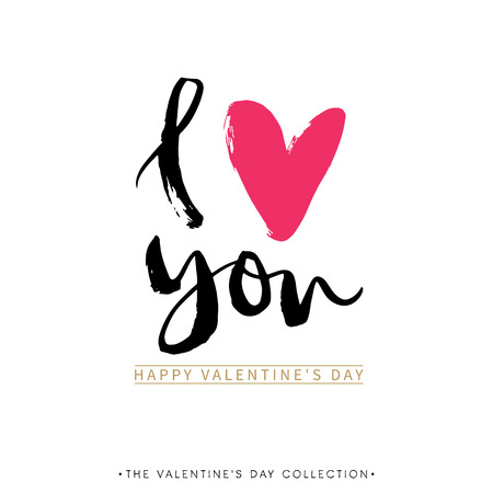 I love you. I heart you. Valentines day greeting card with calligraphy. Hand drawn design elements. Handwritten modern brush lettering. Banco de Imagens - 50909218