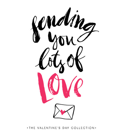 Sending you lots of Love. Valentines day greeting card with calligraphy. Hand drawn design elements. Handwritten modern brush lettering.