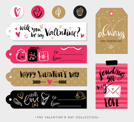 Valentines day gift tags, cards and stickers with calligraphy.  design elements. modern lettering. Vectores