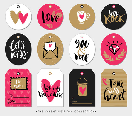 romance: Valentines day gift tags, cards and stickers with calligraphy.  design elements. modern lettering. Illustration