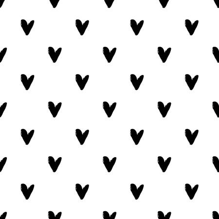 Herz Grunge nahtlose Muster auf weißem Hintergrund. Hand gezeichnet Vektor-Illustration.