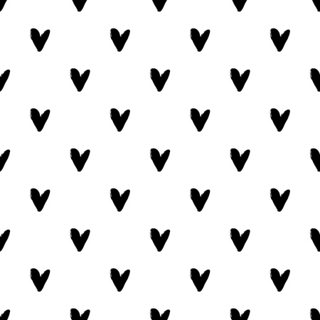 Heart grunge seamless pattern on white background. Hand drawn vector illustration.