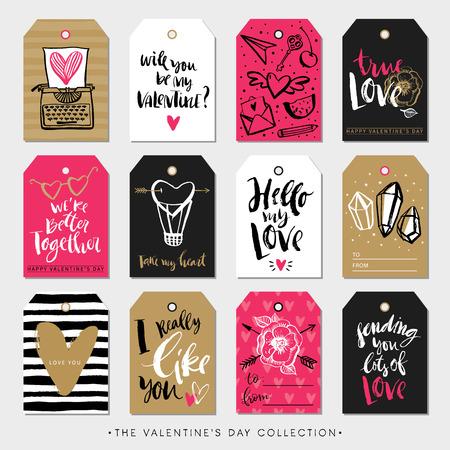 San Valentín Etiquetas del regalo del día y tarjetas. Caligrafía y elementos de diseño dibujado a mano. las letras escritas a mano moderna. Foto de archivo - 52136914