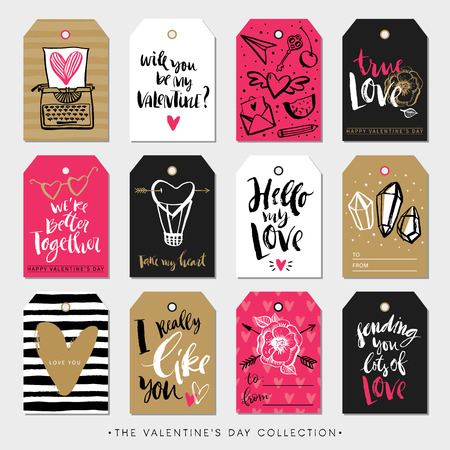rough: Valentines day gift tags and cards. Calligraphy and hand drawn design elements. Handwritten modern lettering.