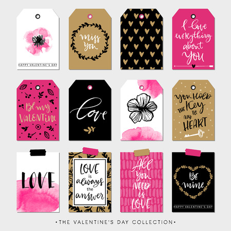 Valentines day gift tags and cards. Calligraphy and hand drawn design elements. Handwritten modern lettering.