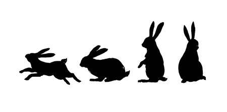 Running, sitting and standing rabbit. Black cut silhouette on a white background. Hand drawn design elements. Vector illustration. Illustration