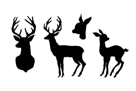 Deer and fawn. Black cut silhouette on a white background. Hand drawn design elements. Vector illustration.