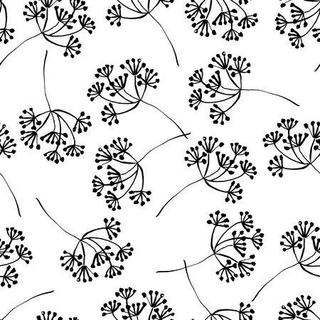 Botanical seamless pattern with blooming inflorescence. Hand drawn design elements. Vector illustration.