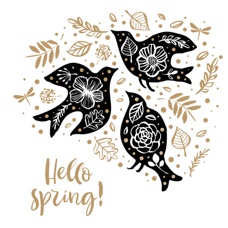 Hello spring! Flower wreath card with birds and inspirational quote. Hand drawn design elements. Handwritten modern lettering. Floral pattern vector illustration.