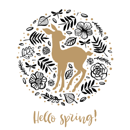 Hello spring. Silhouette of cute sweet little deer in the flower circle. Calligraphy card. Hand drawn design elements. Handwritten modern brush lettering. Vector illustration.