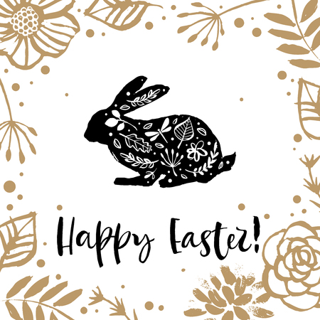 Hello Easter. Running silhouette of a rabbit in the flower circle. Calligraphy card.