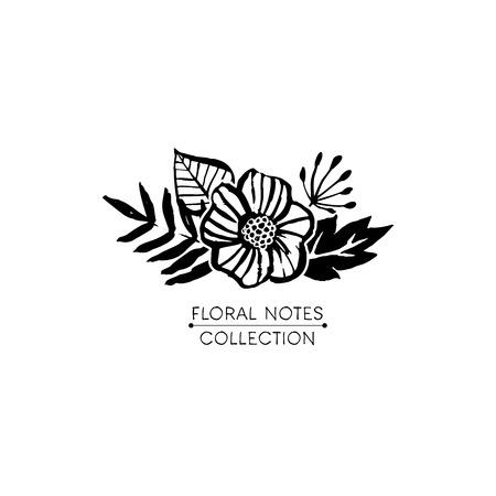 Flower logo template. Floral notes botanical collection. Hand drawn design elements. Nature vector illustration. 向量圖像