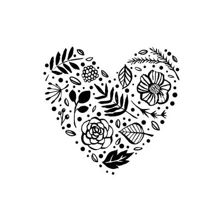Floral heart shape pattern vector illustration
