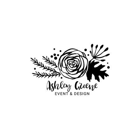 Flower logo template. Floral botanical collection. Hand drawn design elements. Nature vector illustration. Ilustração