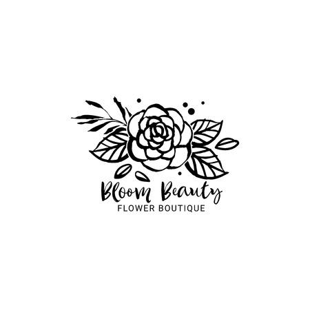 Flower logo template. Bloom beauty. Floral botanical collection. Hand drawn design elements. Nature vector illustration.