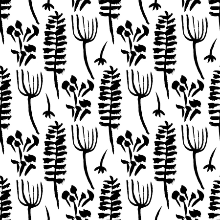 Botanical seamless pattern. Hand drawn design elements. Vector illustration.