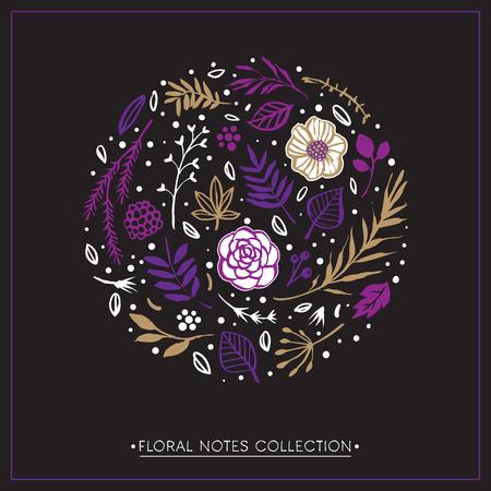 Flower circle shape pattern. Floral botanical card. Hand drawn illustration. Nature vector design elements.