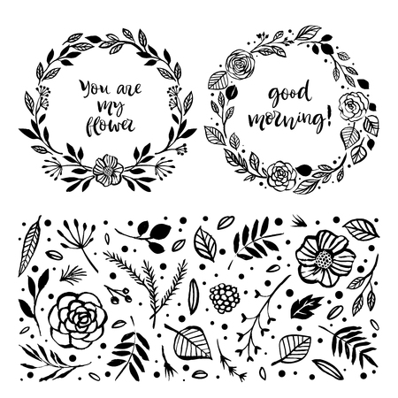 Floral wreaths with inspirational quotes. Botanical hand drawn design elements. Nature vector illustration.
