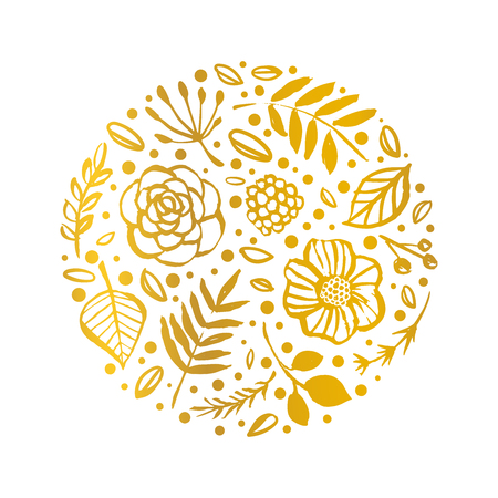 Flower circle shape pattern. Gold Floral card. Hand drawn illustration. Nature vector design.