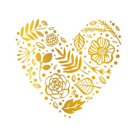 Flower heart shape pattern. Gold Floral card. Hand drawn illustration. Nature vector design.