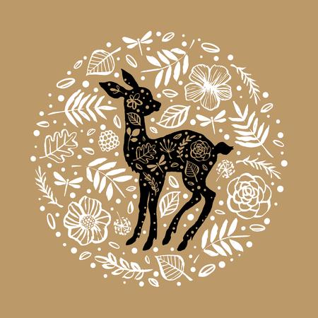Silhouette of little baby deer, fawn in the flower pattern circle. Hand drawn design elements. Vector illustration. Nursery scandinavian art. Reklamní fotografie - 97674223