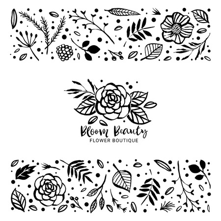 Flower card template. Flowers, branches, and leaves in nature pattern.