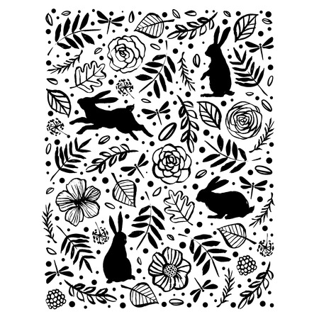 Running, sitting and standing silhouette of a rabbit in the flower pattern. Floral botanical elements. Hand drawn illustration. Nature vector design. Illustration