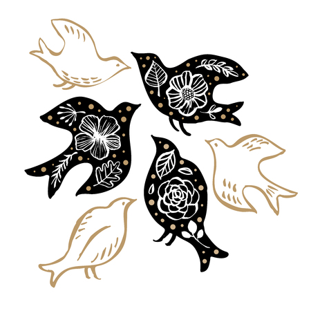 Bird silhouette with floral pattern.