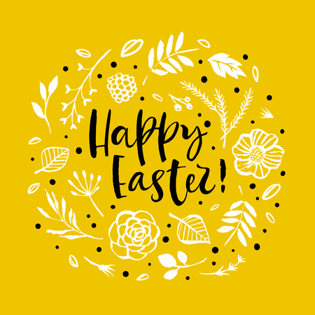 Happy Easter. Flower circle frame. Calligraphy greeting card. Hand drawn design elements. Handwritten modern brush lettering. Vector illustration.  イラスト・ベクター素材