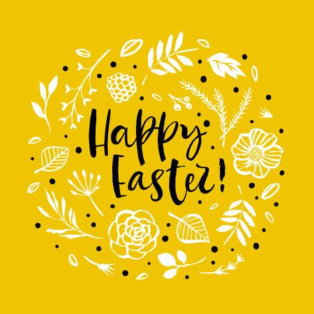 Happy Easter. Flower circle frame. Calligraphy greeting card. Hand drawn design elements. Handwritten modern brush lettering. Vector illustration. Stock Illustratie
