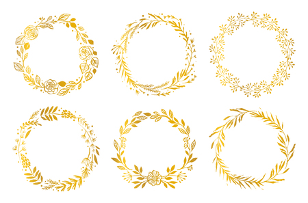 Gold flower wreaths on white background.