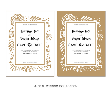 Save the Date. Wedding invitation calligraphy floral cards with catchwords. Modern lettering. Hand drawn design elements. Vector illustration. Фото со стока - 98213134