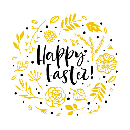 Happy Easter card with circular yellow flower pattern