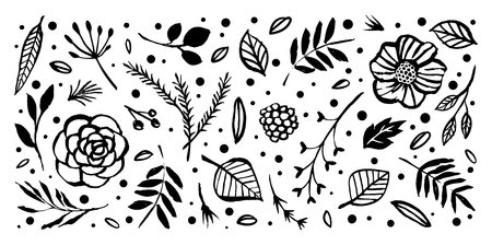 Flower icon templates floral wreaths with botanical elements. Hand drawn illustration nature vector design.