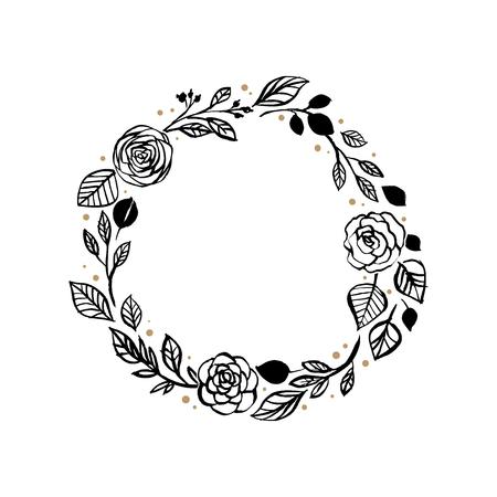 Black circular rose and leaf wreath pattern design  イラスト・ベクター素材